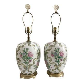 Vintage Chinoiserie Flower & Bow Table Lamps- A Pair