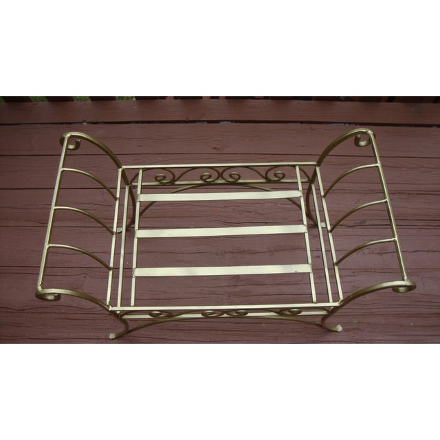 Metal French Art Deco Scroll Bench in Gold Tone - Image 8 of 11