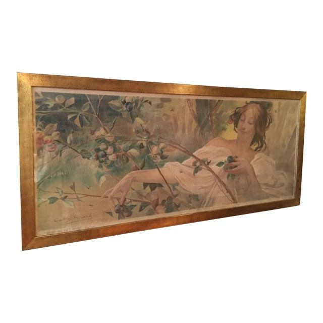 Art Nouveau 'Lady & Flowers' Poster - Image 1 of 10