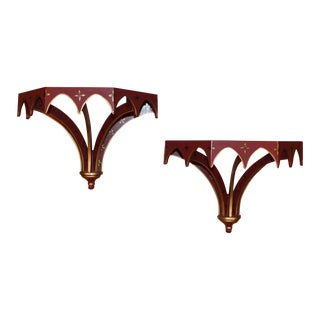 Chinoiserie Wall Sconce Shelves - A Pair