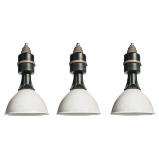 Set of Three Industrial Black and White Pendant Lights