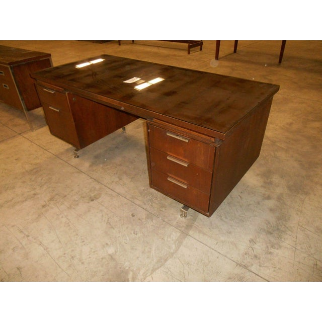 Mid-Century Modern Walnut Executive Desk - Image 2 of 5