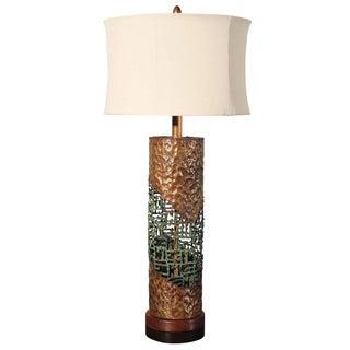 Marcello Fantoni Torch-Cut Copper Brutalist Lamp
