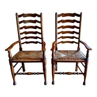 Pine Ladderback Arm Chairs- A Pair