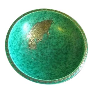 Art Deco Fish Bowl With Silver Overlay - Gustavsberg Argenta by Wilhelm Kage