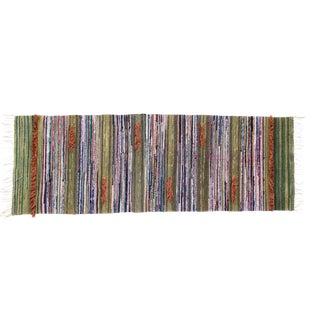 Scandinavian Handwoven Striped Rug - 1′10″ × 5′2″