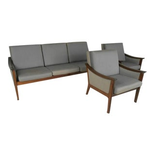 Mid-century Ole Wanscher Style Living Room Suite - Set of 3