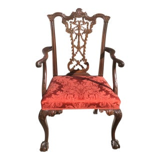Antique Ribbon Back Chippendale Mahogany Arm Chair