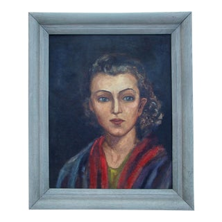 1940s Oil Portrait of a Young Woman