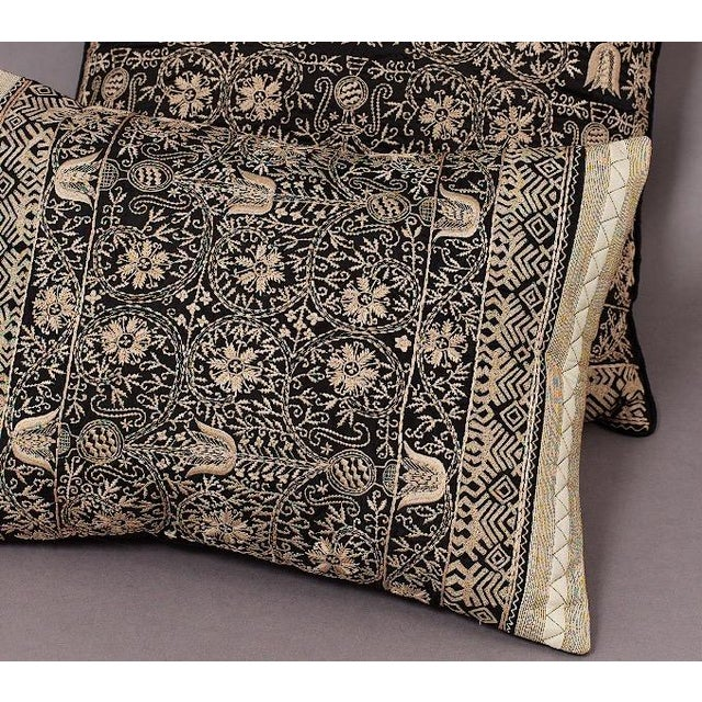 Embroidered Handwoven Silk Pillows - A Pair - Image 6 of 6