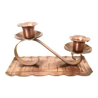 Vintage Solid Copper Candelabra