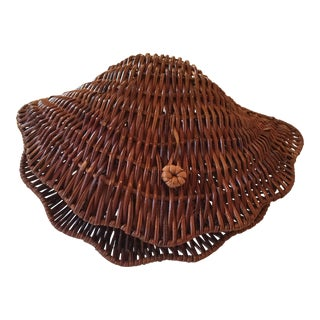 Vintage Wicker & Rattan Clam Basket