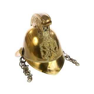 19th Century Antique English Fire Fighter Brass Helmet