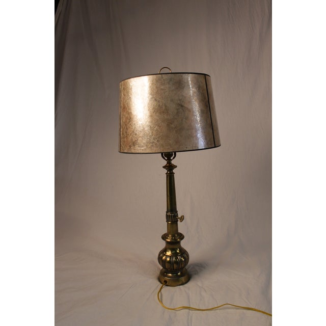 Silvery Brass Lamp With Mica Shade - Image 2 of 5