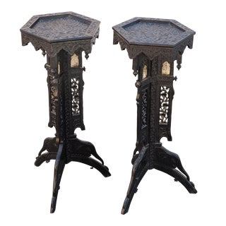 Gothic-Style Table Stands - A Pair