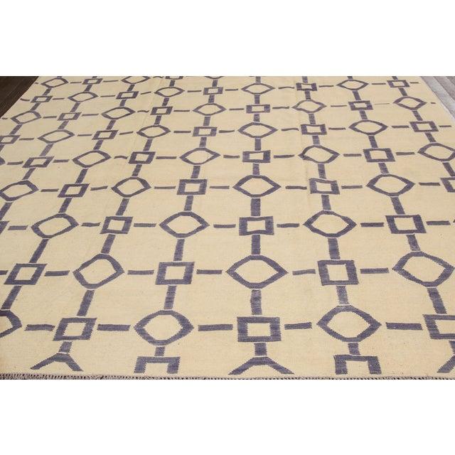 "Apadana Blue & Ivory Geometric Kilim - 9' X 12'2"" - Image 3 of 7"