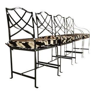 Forsyth One of a Kind Painted Iron Garden Chairs with Custom Zebra Cushions - Set of 4