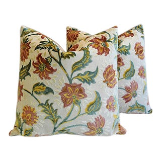 "26"" Custom Tailored French Floral Linen Velvet Feather/Down Pillows - Pair"