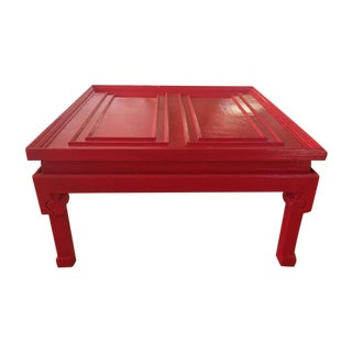 Vintage Chinese Style Glossy Red Cocktail Table