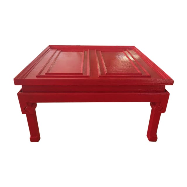Vintage Chinese Style Glossy Red Cocktail Table Chairish