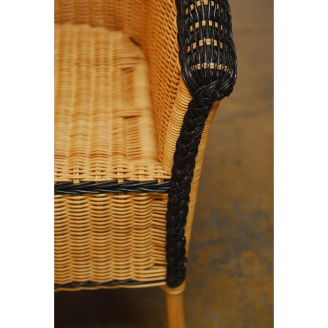 French Grange Style Rattan Club Chairs - A Pair - Image 5 of 7