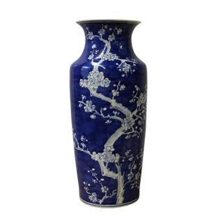 Chinese Blue White Porcelain Blossom Flower Graphic Slim Body Vase