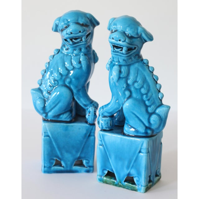 Blue Turquoise Foo Dogs - A Pair - Image 4 of 5