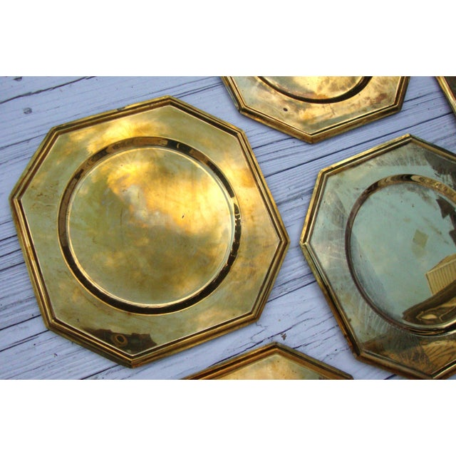 Vintage Solid Brass Hexagon Charger Plates - 6 - Image 6 of 7