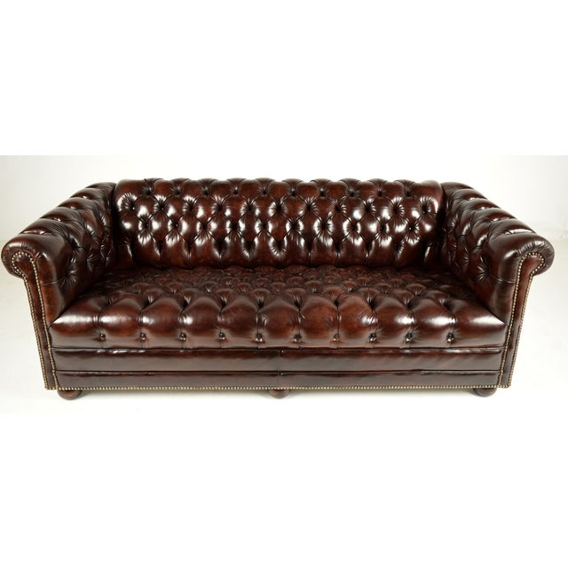 traditional chesterfield leather sofa chairish. Black Bedroom Furniture Sets. Home Design Ideas