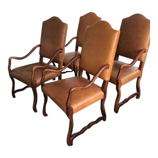 Arabesque Leather Dining Arm Chairs - Set of 4