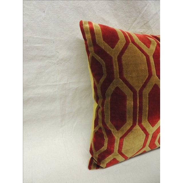 Modern Red Pillows : Modern Red & Gold Silk Velvet Pillows - A Pair Chairish