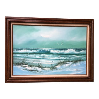 Framed Beach & Seagulls Painting