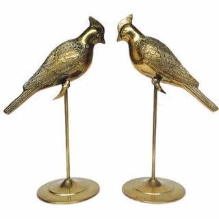Vintage Brass Bird Statues - A Pair