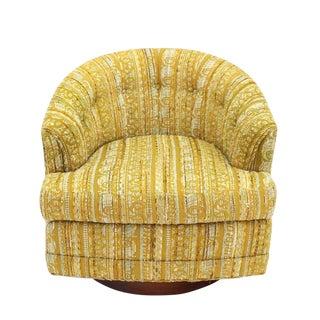 Barrel Back Walnut Base Swivel Lounge Chair