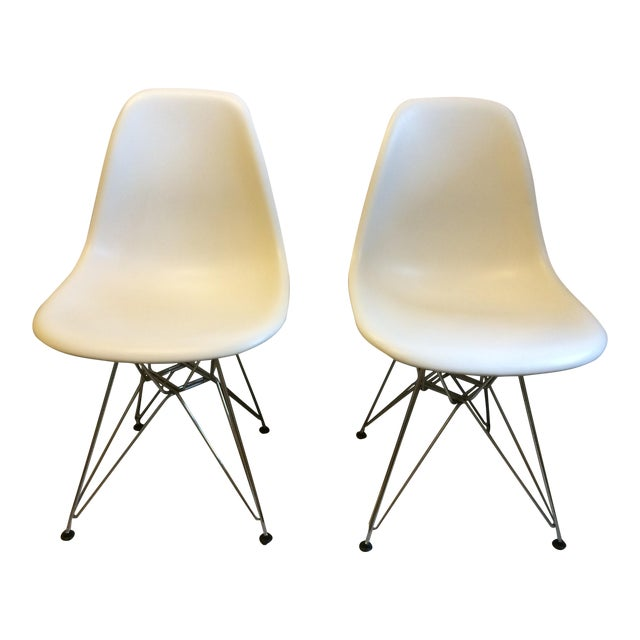 Image of Eames Chrome Eiffel Base Side Chairs - A Pair