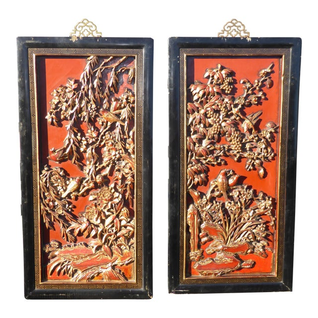 Vintage Asian Red & Gold Gilt Floral Carved Wall Panels- A Pair - Image 1 of 11