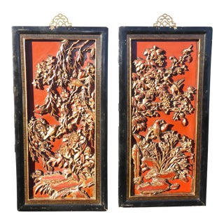 Vintage Asian Red & Gold Gilt Floral Carved Wall Panels- A Pair