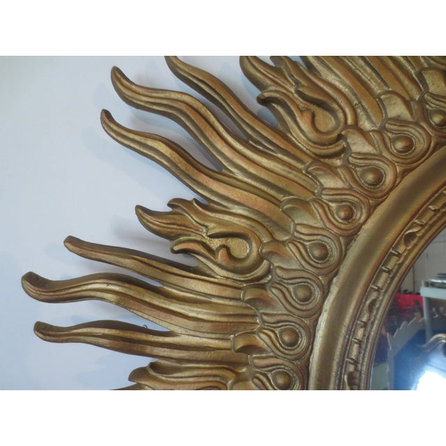 Vintage 1970s Gold Sunburst Mirror - Image 3 of 6
