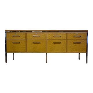 Oak & Chrome Office Credenza