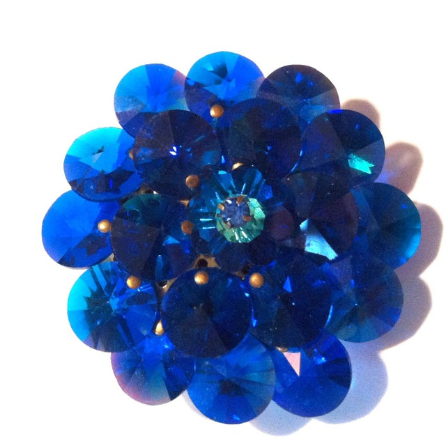 Image of 1960s Blue Crystal Chip Rivoli Brooch with Flower