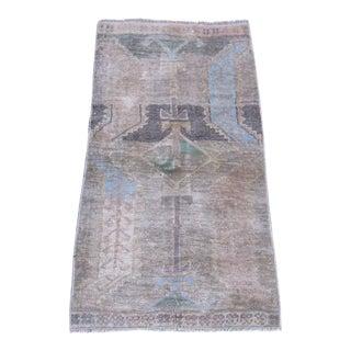 Vintage Turkish Brown Wool Pile Rug - 1′5″ × 2′9″
