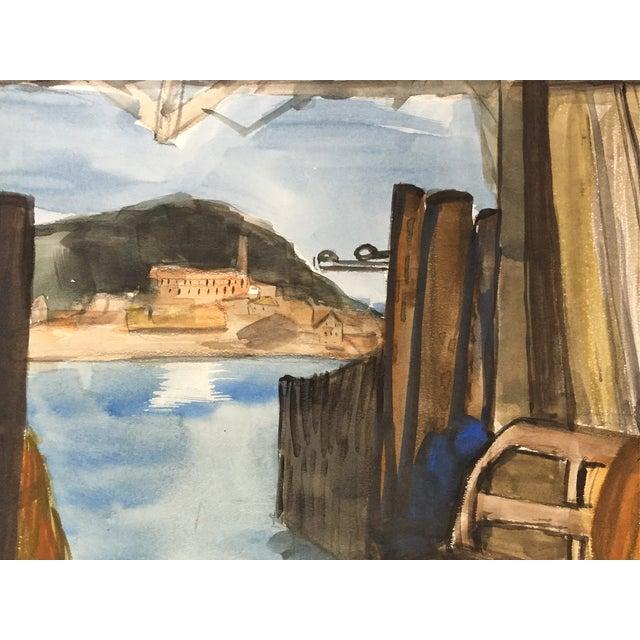 San Francisco Bay Alcatraz Mid Century Watercolor - Image 3 of 4