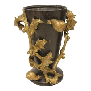 Art Nouveau French Bronze Vases or Planters with Gilded Design