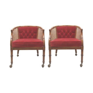 Faux Bamboo & Cane Arm Chairs - Pair