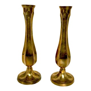 Brass Fluted Vases - A Pair