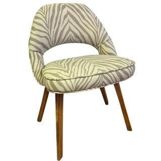 Faux Zebra Linen Knoll Style Chair
