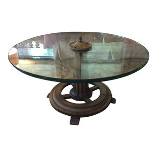 Hollywood Regency Round Glass Cocktail Table