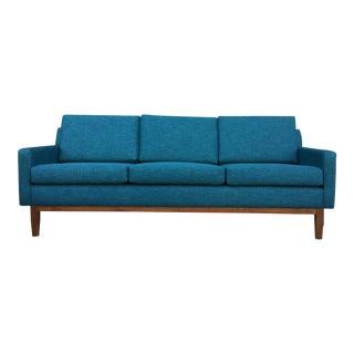 Mid-Century Modern Vintage Teal Solid Walnut Frame Sofa