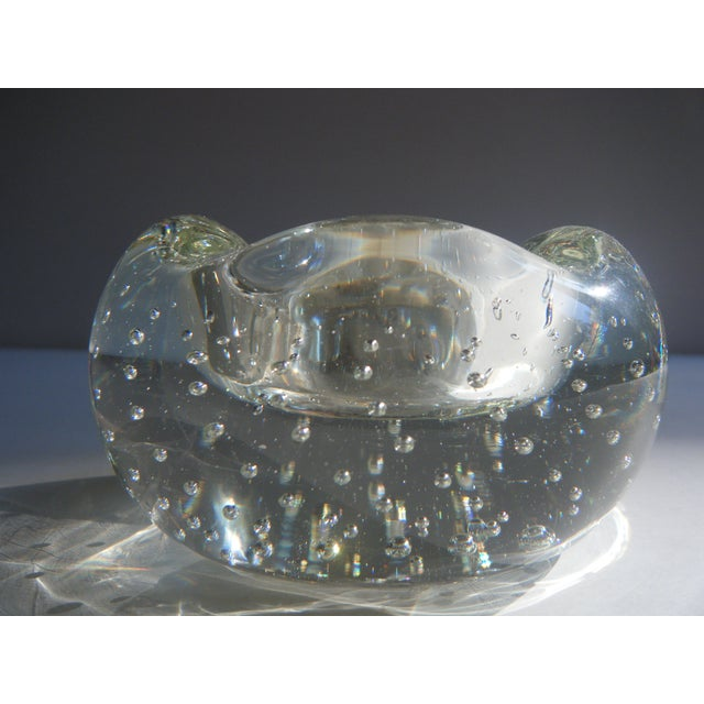 """Vintage Clear Glass """"Bubbles"""" Modern Style Ashtray - Image 2 of 5"""
