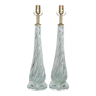 Clear Swirled Vintage Murano Lamps
